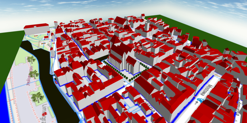 Toruń - old city recreated from LOD2 models